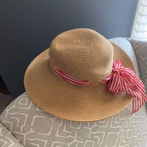 Straw Sunhat red and white